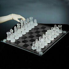 Elegant New Solid Glass Chess With Checker Board Set