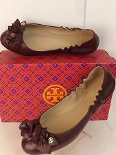 NIB TORY BURCH BLOSSOM PORT WINE FLOWERS LEATHER GOLD REVA BALLET FLATS 7
