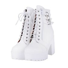 Womens Buckle Punk Ankle Boots Chunky Punk platform High Heel Lace Up Shoes Sz
