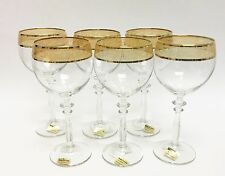 NEW SET OF 6 ALL PURPOSE CLEAR GLASS WITH GOLD TRIM WINE,GOBLET GLASS,ITALY