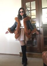 Rare Black Soft Sheep Skin Leather and Fox Fur Rim Down Jacket Coat