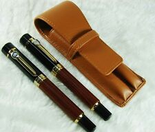 Jinhao Red Wood Fountain Pen & Matching Roller Pen Set w/ Pen Case Set