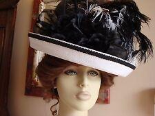 VICTORIAN EDWARDIAN LADIES TEA WHITE & BLACK HAT WIDE BRIM MILLINERY DERBY SASS