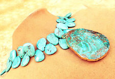 TURQUOISE PENDANT and FACETED GEMS BLUE AQUA FREEFORM TEARDROP NECKLACE JEWELRY