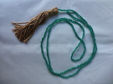 "Long Turquoise Seed Bead Necklace With Tassel 23"" Boho Hippie Festival Beach"