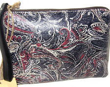 New Patricia  Nash Italian leather Paisley Feather Wristlet Clutch Cosmetic Bag