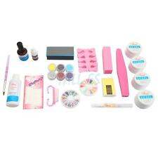 Pro Full Acrylic Glitter Powder Glue File Nail Art UV Gel Tips Kit Set