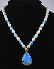 Genuine White Akoya Cultured Pearl/Sri Lanka Moonstone pendant(28x35mm)necklace