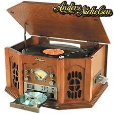 Anders Nicholson Nostalgic AM/FM Home Stereo System w/ Oak Finish & LCD Display