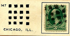 1800s US Stamp w/ Fancy Cancels: 4X4 Array of SQUAREs Design ~ Free Shipping..T7