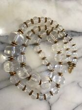 VINTAGE MIRIAM HASKELL CLEAR LUCITE BEAD LARGE NECKLACE MARKED