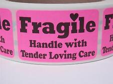 FRAGILE HANDLE WITH TENDER LOVING CARE 1.25x2 Stickers Labels fluor pink 250/rl