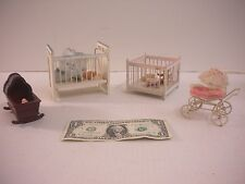 Dollhouse Furniture Miniatures Baby Cribs, Rocking Crib, Baby Stroller & Babies
