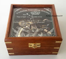 Marine Collectible Nautical Brass Working German Maritime Sextant w/ Wooden Box