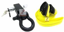 "New Solid Shank SHACKLE D-Ring Receiver Hitch W/ 5/8"" Pin & 2"" x 20' Strap"