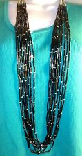 "Chico's "" Iona "" Necklace Silver Tone & Black Beads Multi Strand 36"" long NWT"