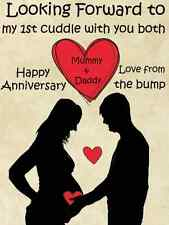 Mummy & Daddy Happy Anniversary From The Bump A5 Greeting Card PID416 1st Cuddle