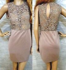 NWT bebe light brown cutout chest lace back sequin top dress M medium 6 8 club