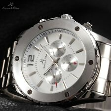 KS 6 Hands White Dial Date Stainless Steel  Men Automatic Mechanical Watch