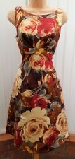 PHASE EIGHT DUCHESS ROSE RED GOLD FLORAL SILK MIX 50'S DRESS 14 TWICE £130