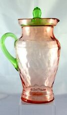 Ice Tea Pitcher with Lid Watermelon Pink and Vaseline Green Vintage Depression G