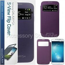 Samsung Galaxy S4 S-View Slim Flip Cover Folio Case Purple, New Genuine