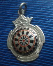 Attractive Sterling Silver & Enamel Darts Medal / Watch Fob 1948 - Darts Board