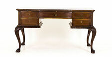 B437 Antique Inlaid Mahogany Free Standing Writing Desk