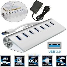 7 Port Aluminum USB 3.0 HUB 5Gbps High Speed+AC Power Adapter For PC Laptop Mac