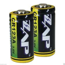 Zap 2-Pack CR123A Lithium Batteries, 3V, 1500mAh, Strong, Reliable, Leakproof