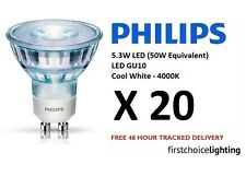 20 x Philips 5.3W (50W) Low Energy GU10 LED Spot Lamps Bulbs Cool White 4000K