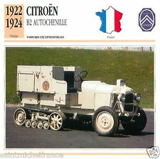 CITROËN B2 AUTOCHENILLE 1922 1924 CAR VOITURE FRANCE CARTE CARD FICHE