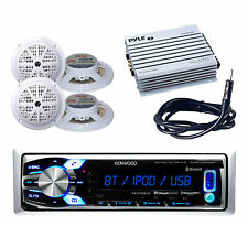 Boat Car KMRM312BT USB AUX InputBluetooth Radio,400W Amp, White Speakers,Antenna