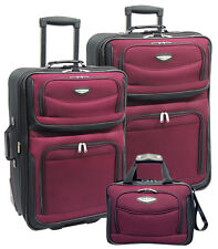 Travel Select Amsterdam Red 3-Piece Expandable Rolling Luggage Suitcase Bag Set