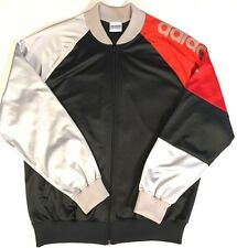 Vintage Adidas Zip Up Track Jacket Red Black Silver Spellout Yeezy XL Colorblock