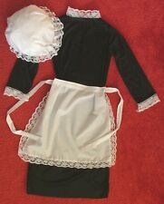 CHILDS VICTORIAN MAID COSTUME GIRLS WAITRESS APRON -  MOP HAT- DRESS,