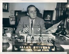 1954 Texas Governor Allan Shivers at Desk With Nameplate Press Photo