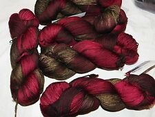 Xmas Red+Green STONECHAT 440yd Skein Malabrigo SOCK Soft Sprwsh Merino Wool YARN