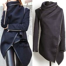 Wide Lapel Wrap Around Black Piping Women's Trench Coat Jacket Outwear Solid XL