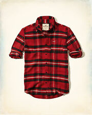 NWT Hollister Abercrombie Mens Guys Red black Plaid Flannel Button Up Shirt M