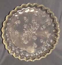 CLEAR GLASS QUICHE DISH ANCHOR HOCKING SAVANNAH IMPRESSED FLORAL PATTERN 10""