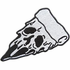 White Pizza Slice Badge Ghost Halloween Mask Face Eyes Food Iron-On Patches 0781