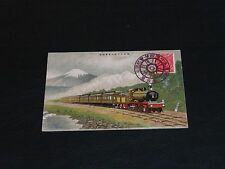 ORIGINAL JAPANESE ART NOUVEAU POSTCARD - TRAIN & MOUNTAIN BEYOND - STAMPED.