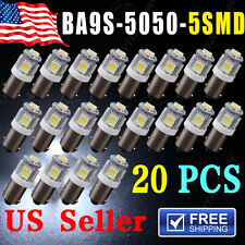 20 PCS T11 BA9S 5050 5-SMD LED White Light Bulb Car 12V Lamp T4W 3886X H6W 363
