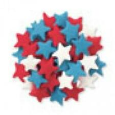 Edible Confetti Sprinkles Cookie Cake Cupcake LARGE PATRIOTIC STARS 4 oz.