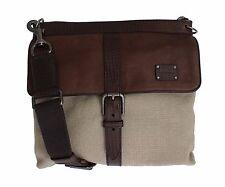 NWT $1100 DOLCE & GABBANA Mens Brown Linen Leather Travel Shoulder Messenger Bag