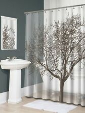 NEW Rich Mocha Tree Silhouette Vinyl Shower Curtain - Modern Design PVC Free