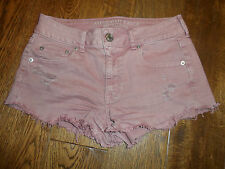 "Ladies American eagle outfitters pink cut off denim shorts size 30"" uk 10 summer"
