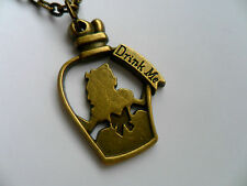 "Lovely Alice in Wonderland "" Drink Me "" Potion Bottle  Bronze Chain Necklace"