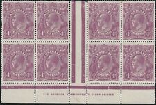 Stamps Australia 4d violet KGV single watermark Harrison imprint block of 8, MH